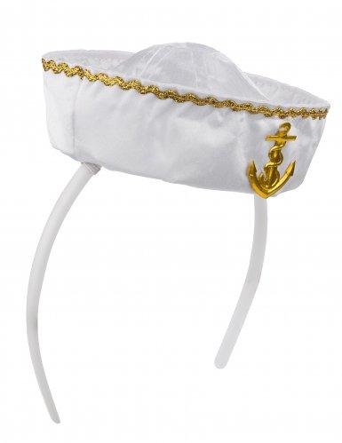 Serre-tête mini chapeau marin blanc femme-1