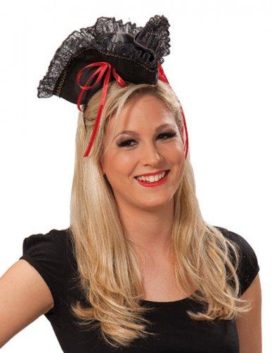 Chapeau de pirate femme rouge et noir