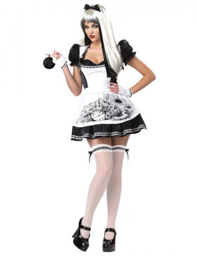 Déguisement Alice noir et blanc sexy femme Halloween