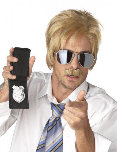 Perruque et moustache d'agent secret blond