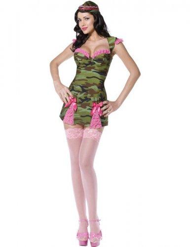Déguisement militaire vert et rose sexy femme