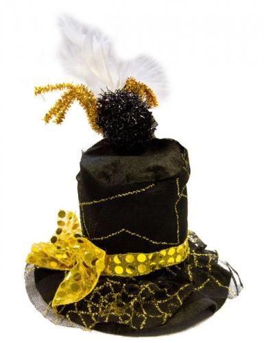 Chapeau toile araignée noir et or adulte