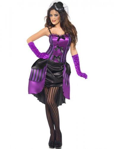 Déguisement burlesque noir et violet sexy femme