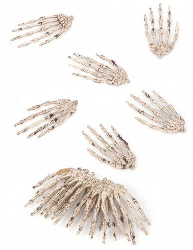 Lot de 12 mains de squelette Halloween