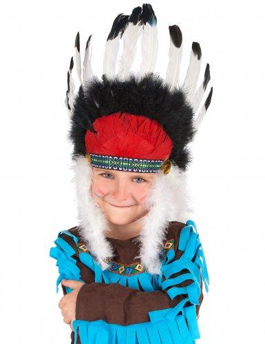 Coiffe chef indien avec plumes enfant
