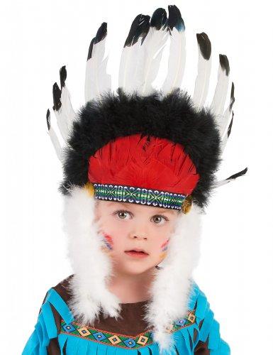 Coiffe chef indien avec plumes enfant-1