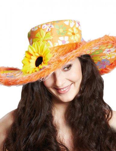 Chapeau hippie coloré avec fleur