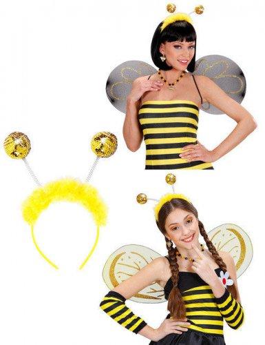Serre-tête antennes d'abeilles avec fourrure adulte