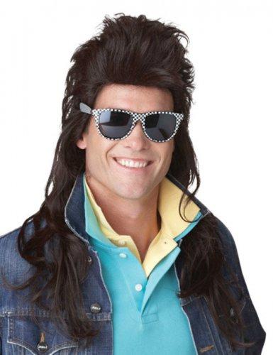 Perruque mulet rock années 80 noir homme