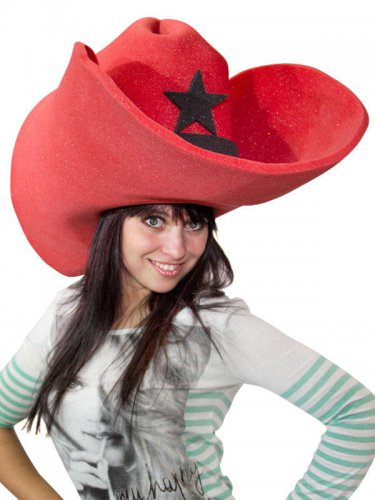 Chapeau géant cowboy adulte rouge
