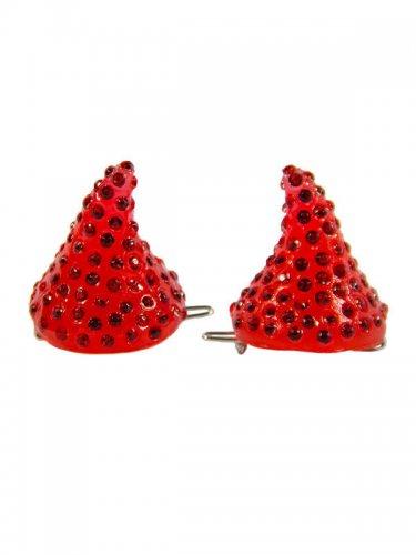 2 barrettes corne de démon rouge strass 3,5 cm