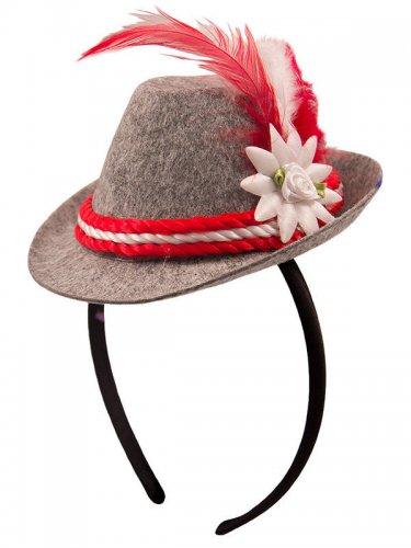 Mini chapeau bavarois gris et rouge femme