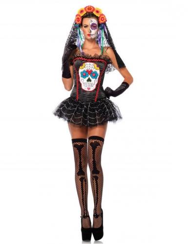Corset squelette coloré femme Dia de los muertos Halloween