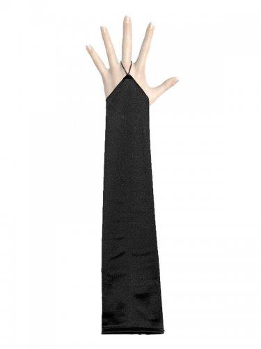 Gants longs satinés noirs sans doigts adulte