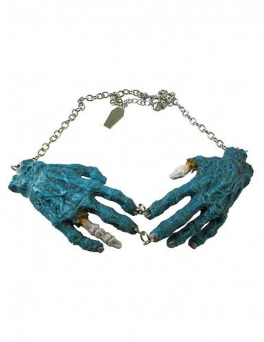Collier gothique chaîne pendentif mains zombies bleues