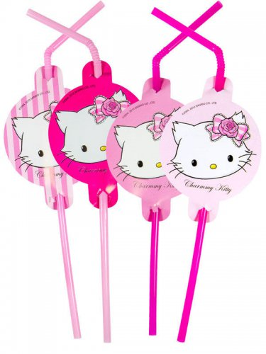 8 Pailles charmmy Kitty™ rose 24cm