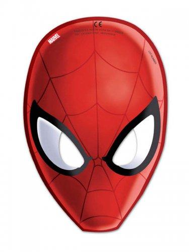 Lot de 6 masques Spiderman rouge 15,5x23cm DE