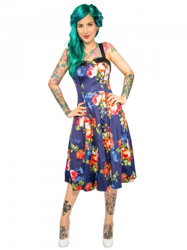 Hearts and Roses Rockabilly 50's Petticoat-Dress Flowerpattern darkblue-bunt