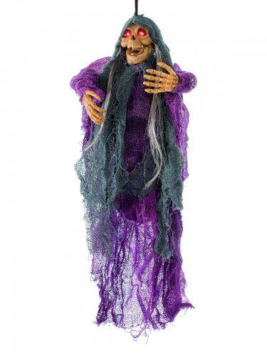 Statue démon momifié pour Halloween de couleur violet-noir