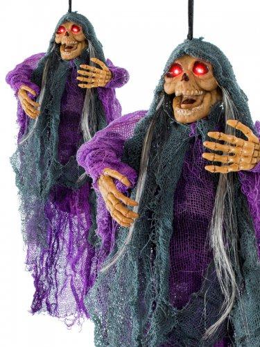 Statue démon momifié pour Halloween de couleur violet-noir-1