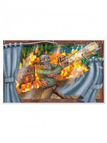 Décoration murale massacre à la tronçonneuse 96x156cm Halloween