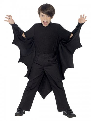 Cape vampire chauve-souris noir enfant Halloween-1