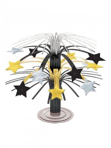 Centre de table avec des étoiles de couleur or argent et noir 19 cm