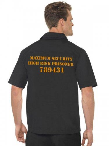 Chemise homme prisonnier noire et orange-1