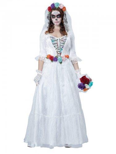 Déguisement d'Halloween squelette de mariée blanc-multicolore