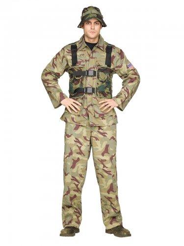 Déguisement soldat combattant kaki homme