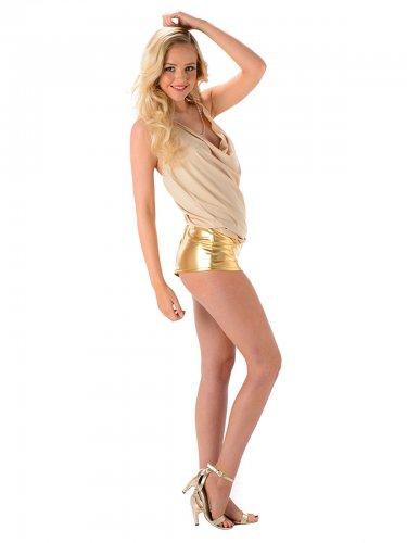 Déguisement Popstar sexy femme doré