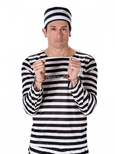 Déguisement prisonnier rayé noir et blanc homme-1
