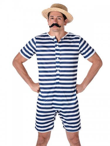 Déguisement Maillot de bain rétro rayé bleu et blanc homme-1