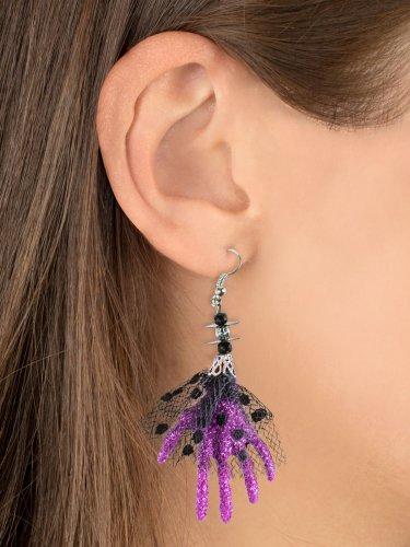 Boucles d'oreilles Halloween Main de sorcière violet 6,5 x 5 x 1 cm