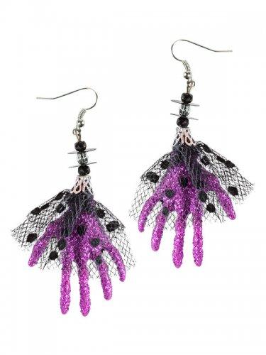 Boucles d'oreilles Halloween Main de sorcière violet 6,5 x 5 x 1 cm-1