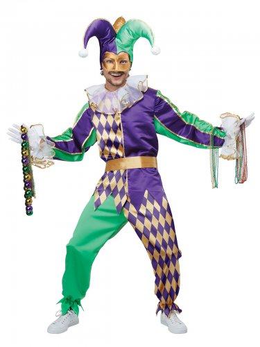 Déguisement arlequin vert et violet homme
