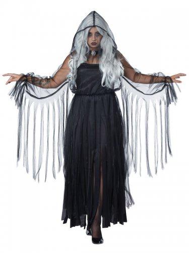 Déguisement élégant fantôme Halloween grande taille noir femme-1