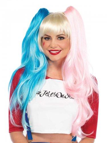 Perruque arlequine rose et bleue femme