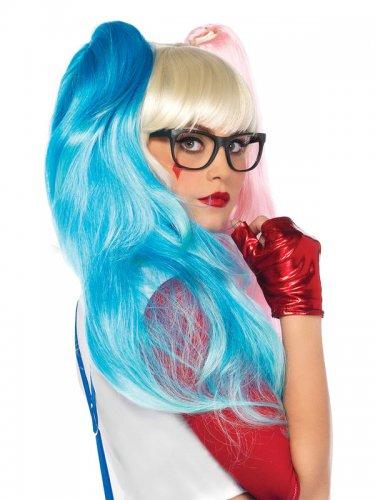 Perruque arlequine rose et bleue femme-1