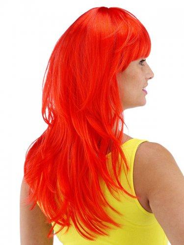 Perruque longue rouge avec frange femme-1