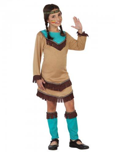 Déguisement Squaw du Far West beige et bleu fille