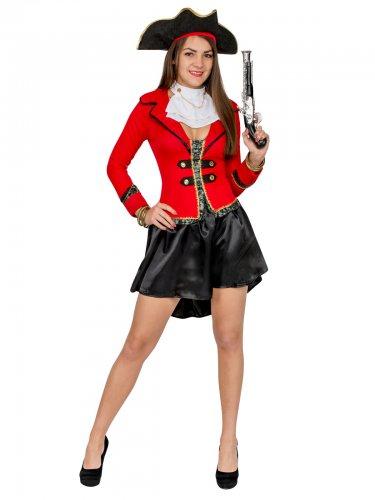 Déguisement pirate femme noir et rouge