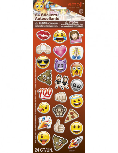 24 Stickers autocollants Emoji™ 2,5 x 2,5 cm