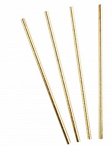 10 Pailles en carton or métallisé 20,5 cm