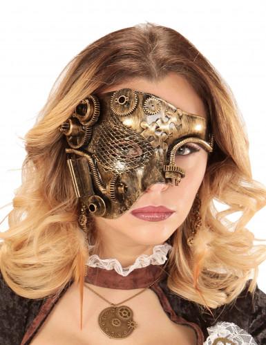 Demi masque doré rouages adulte Steampunk