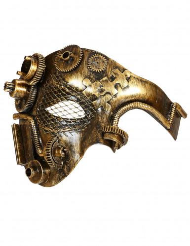 Demi masque doré rouages adulte Steampunk-1