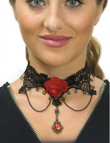 Ras de cou dentelle noire et rose rouge femme Dia de los muertos