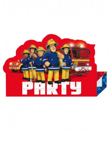 8 Cartes d'invitation Sam le Pompier ™ rouge