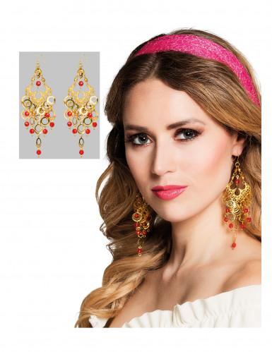 Boucles d'oreilles danseuse orientale dorées et rouges femme