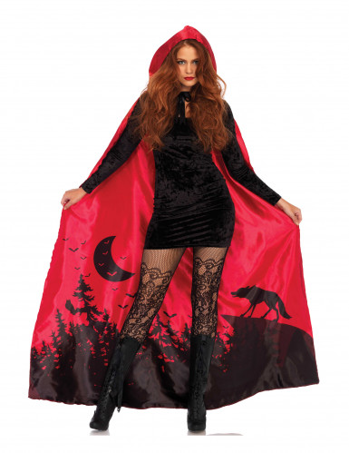 Cape luxe rouge femme-1
